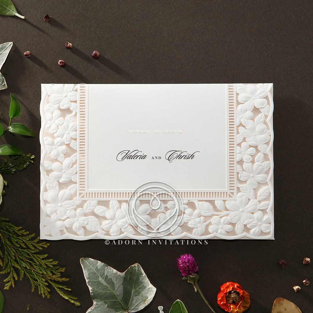 Wedding invitation embossed floral frame hb15106 sample only embossed floral frame wedding invite design hb15106 stopboris Image collections
