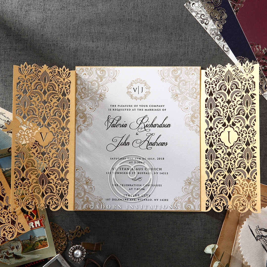 Gold Foil And Ivory Gatefold Wedding Invitation, Laser Cut