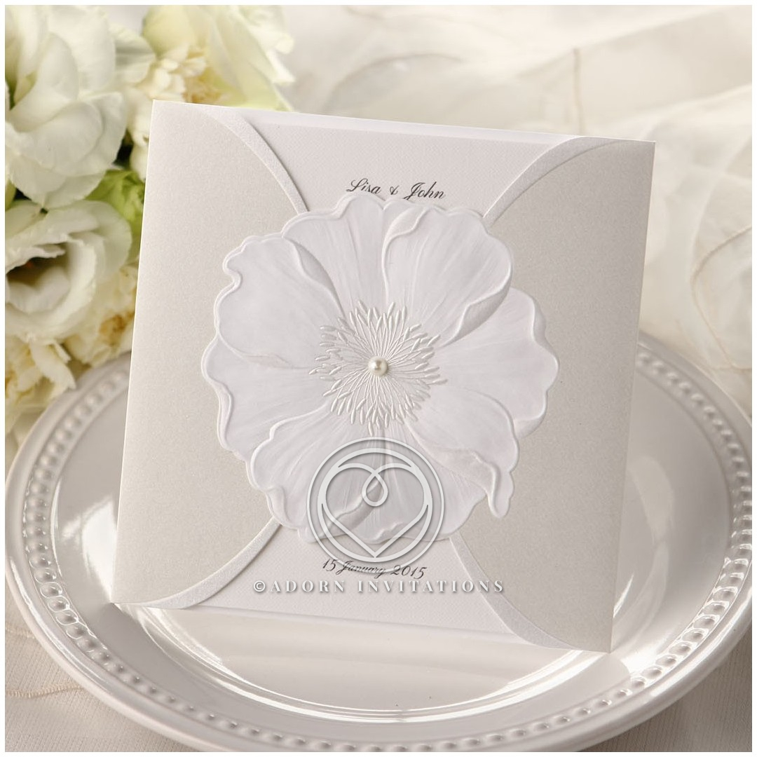 B Wedding Invitations Coupons: Floral Gate Fold With Embossed Details And Center Pearl