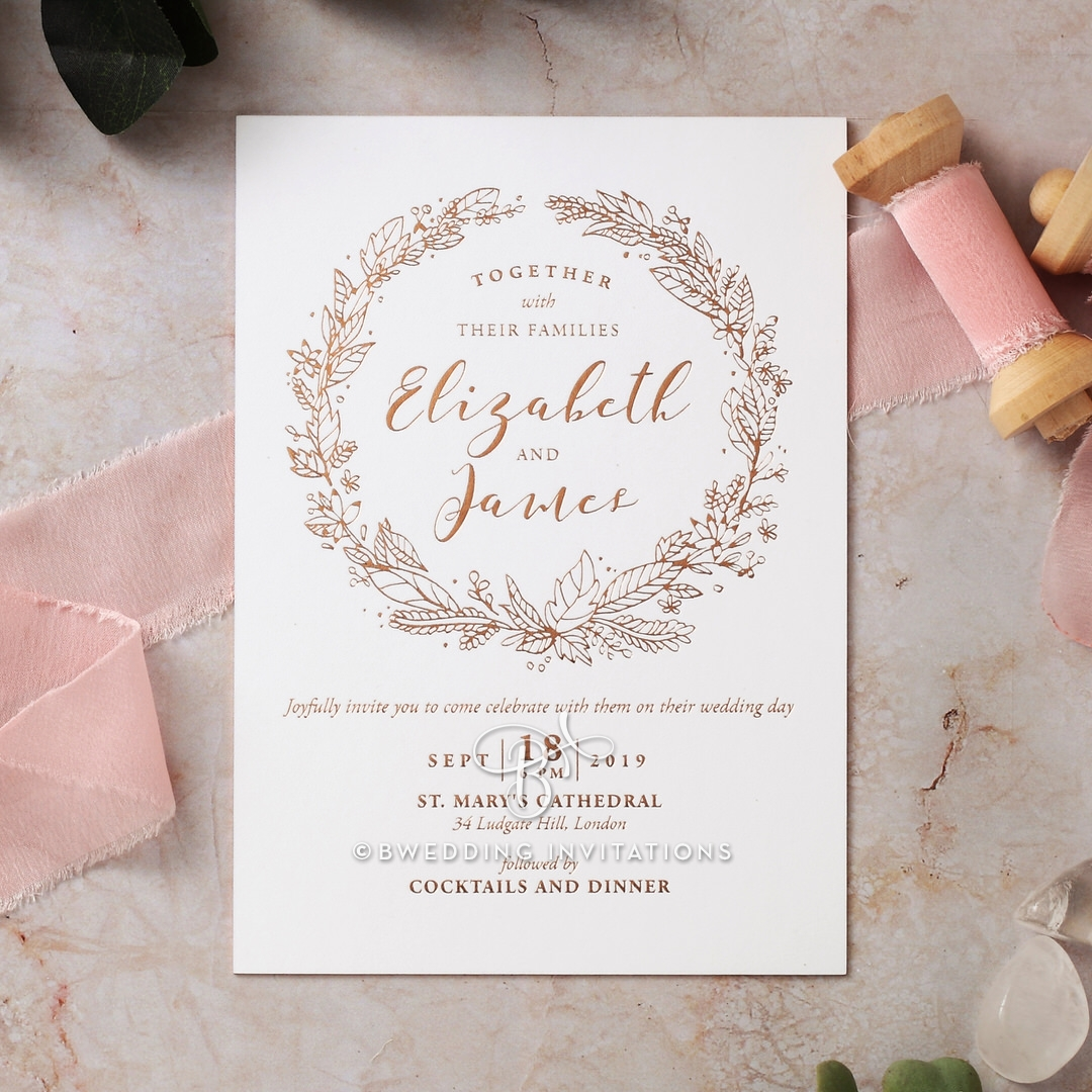 Whimsical Garland Wedding Invitation Card