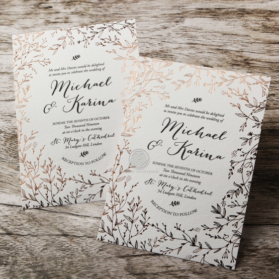B Wedding Invitations Coupons: Floral Pattern In Hot Stamped Foil, Premium Paper Raised Ink