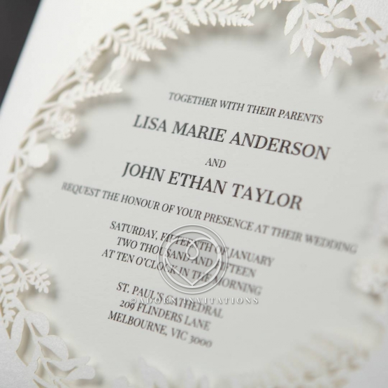 B Wedding Invitations Coupons: Forest Themed Laser Cut Flora With Center Peek-Through