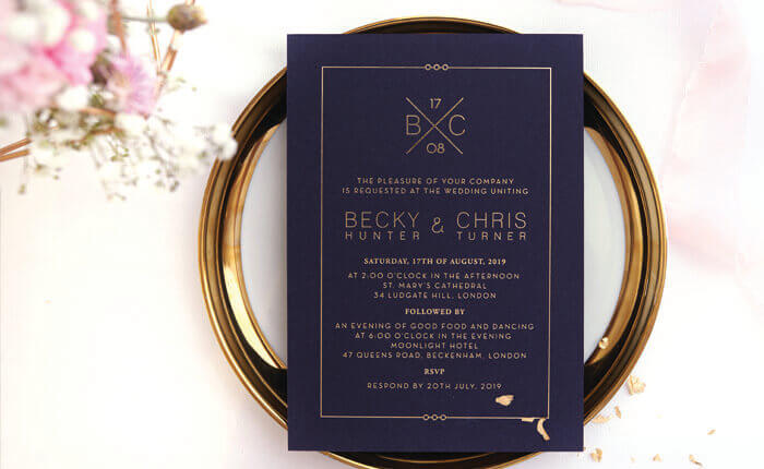 custom foil stamped - Blue And Gold Wedding Invitations