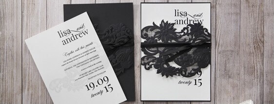 Wedding Invitations Laser Cut Invites Stationery Cards Online – Black and White Invitation Cards